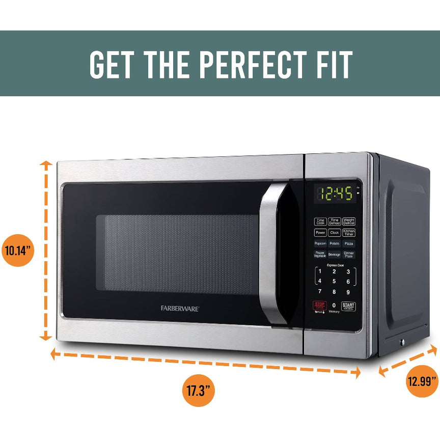 Farberware Classic 0.7 Cu. Ft. 700-Watt Microwave Oven, Brushed Stainless