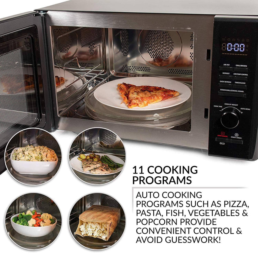 Farberware Black 1.0 Cu. Ft 1000-Watt Microwave Oven with Healthy Air Fry and Grill/Convection Function, Black Stainless Steel