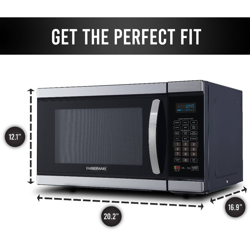 Farberware Gourmet 1.1 Cu. Ft. 1100-Watt Microwave Oven with Smart Sensor and Inverter Technology, Stainless Steel