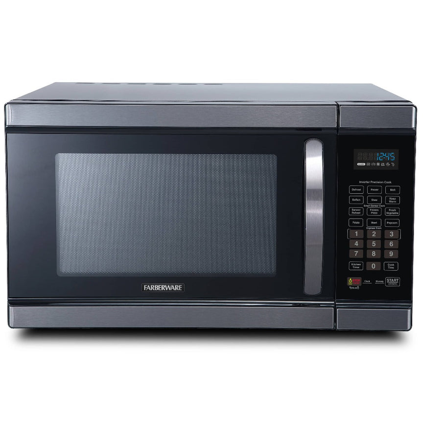 Farberware Black 1.1 Cu. Ft. 1100-Watt Microwave Oven with Smart Sensor and Inverter, Black Stainless Steel