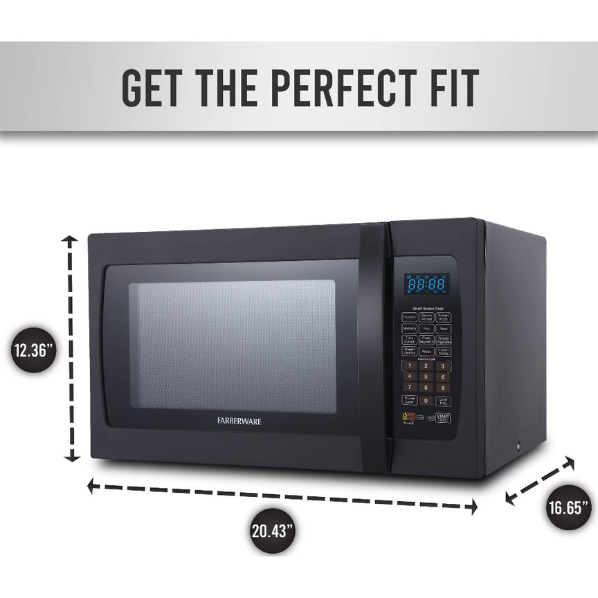 Farberware Professional 1.3 Cu. Ft. 1100-Watt Microwave Oven with Smart Sensor Cooking, Black