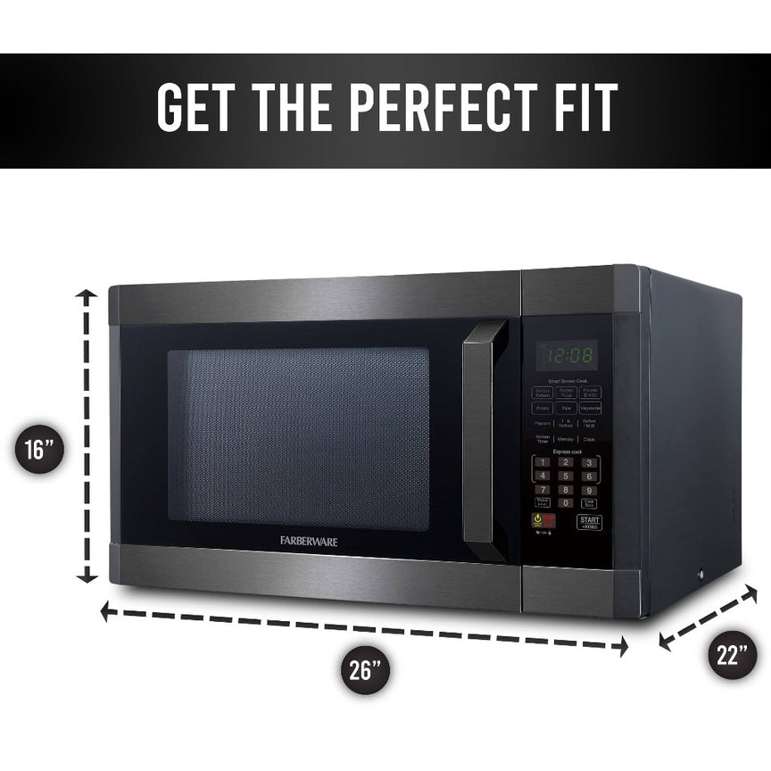 Farberware Black 1.6 Cu. Ft. 1300-Watt Microwave Oven with Smart Sensor Cooking, ECO Mode and LED Lighting, Black Stainless Steel