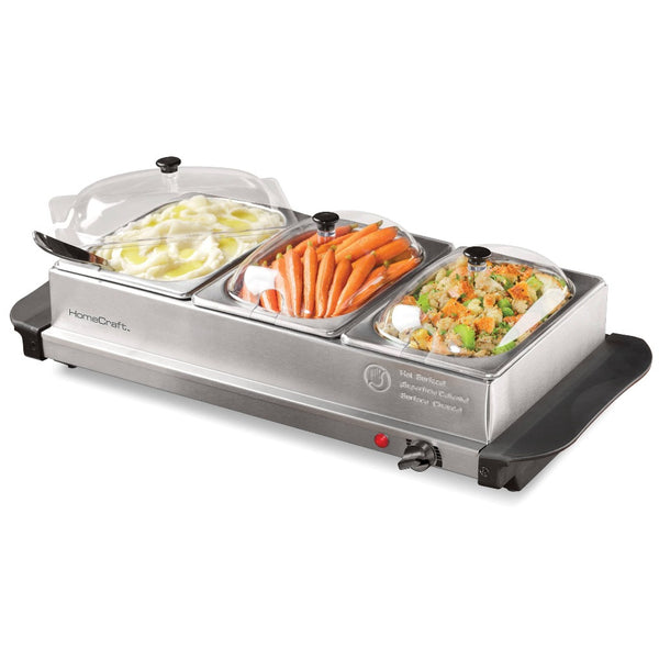 HomeCraft™ HCBS15SS 3-Station 1.5-Quart Stainless Steel Buffet Server & Warming Tray