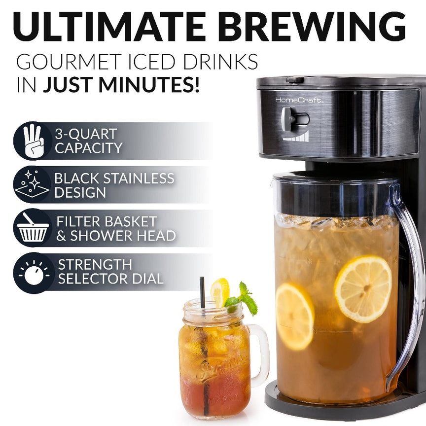 HomeCraft 3-Quart Black Stainless Steel Café' Ice Iced Coffee and Tea Brewing System