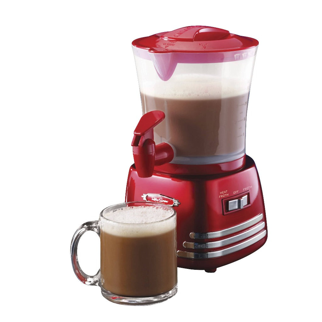 Retro 32-Ounce Hot Chocolate, Milk Frother, Cappuccino, Mocha, Latte Maker and Dispenser