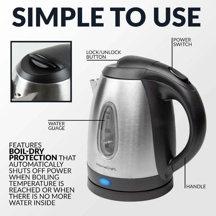 HomeCraft™ 1-Liter Brushed Stainless Steel Electric Water Kettle
