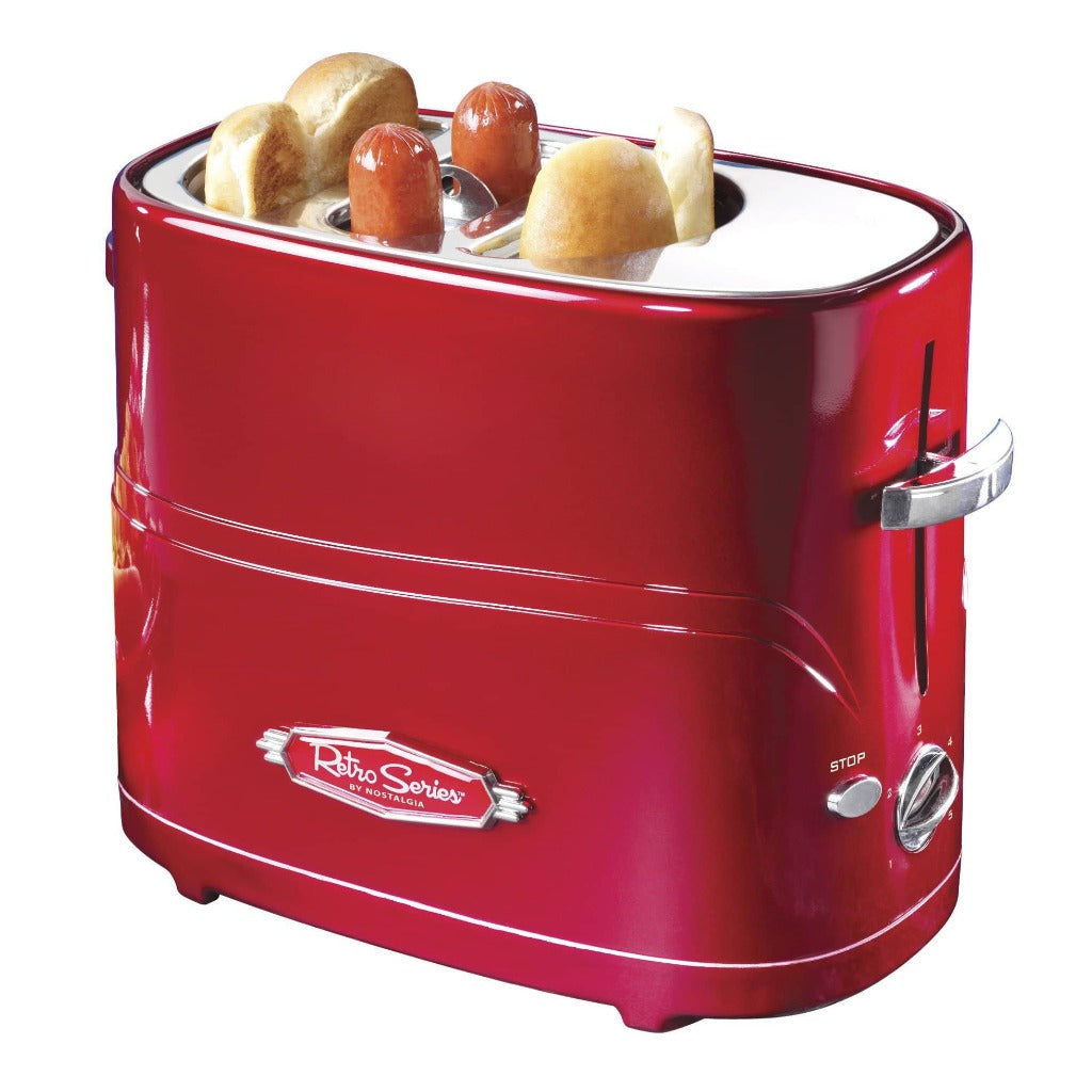 Nostalgia HDT600RETRORED Retro Pop-Up Hot Dog Toaster