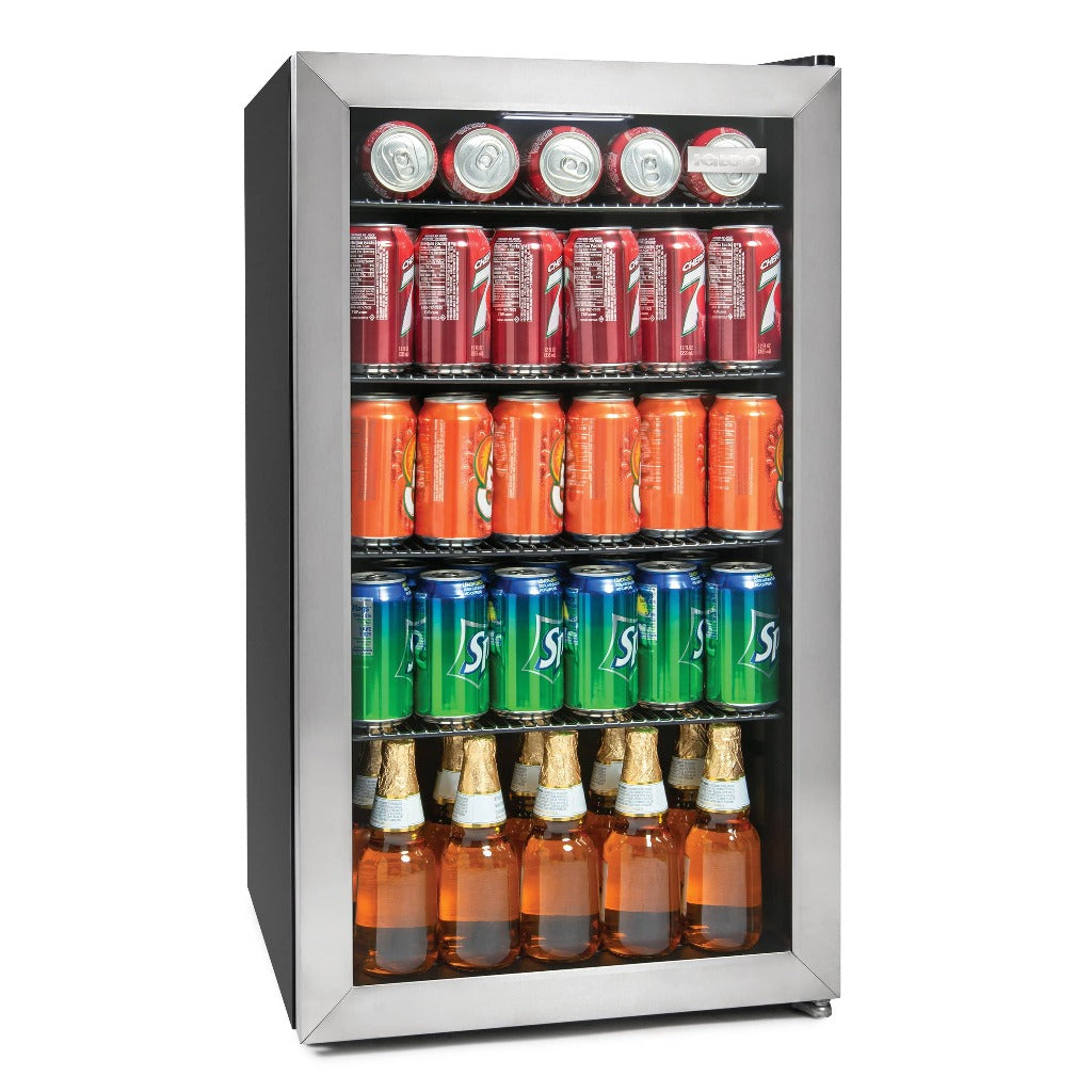 IGLOO IBC35SS 135-Can Capacity Stainless Steel LED-Lighted Double-Pane Glass Door Beverage Center Refrigerator and Cooler for Soda, Beer, Wine and Water, 3.5 Cu. Ft.