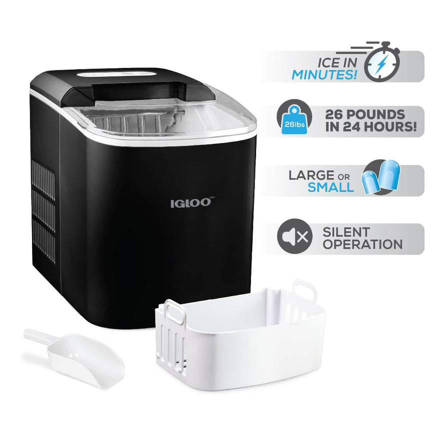 IGLOO® 26-Pound Automatic Portable Countertop Ice Maker Machine - Black