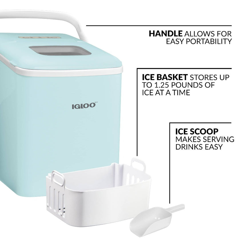 IGLOO® 26-Pound Automatic Self-Cleaning Portable Countertop Ice Maker Machine With Handle, Aqua
