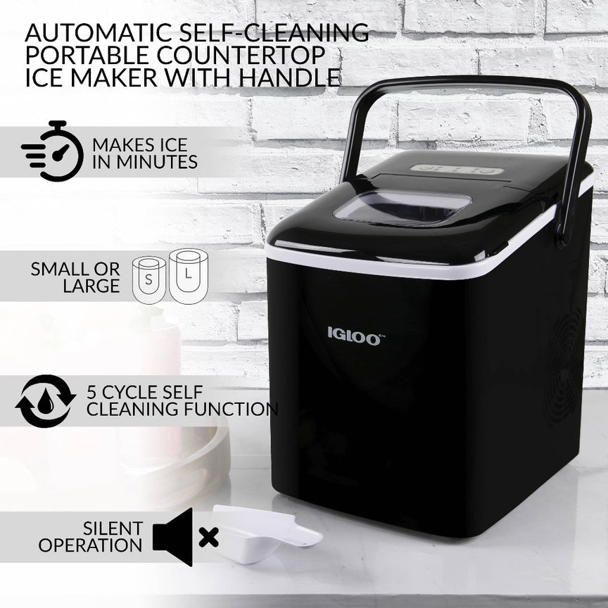 IGLOO® 26-Pound Automatic Self-Cleaning Portable Countertop Ice Maker Machine With Handle, Black