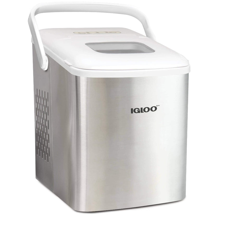 Igloo 26-Pound Automatic Self-Cleaning Portable Countertop Ice Maker Machine With Handle, Stainless Steel & White
