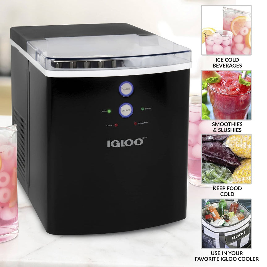 IGLOO® 33-Pound Automatic Portable Countertop Ice Maker Machine, Black