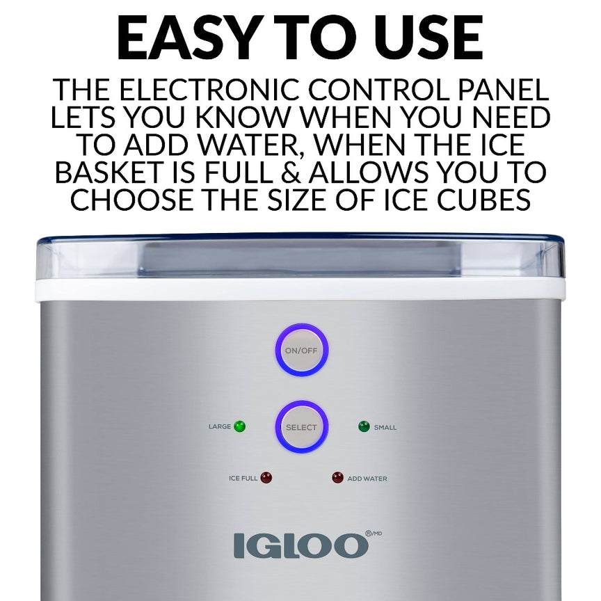 Igloo® 33-Pound Automatic Portable Countertop Ice Maker Machine, Stainless Steel