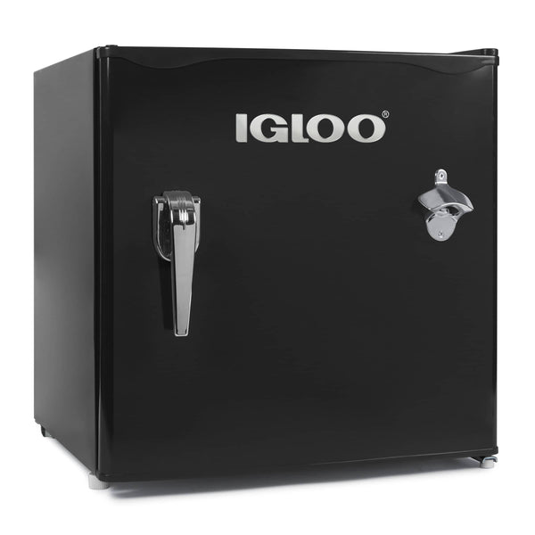 IGLOO® 1.6 Cu. Ft. Classic Compact Single Door Refrigerator Freezer w/ Chrome Handle & Bottle Opener - Black
