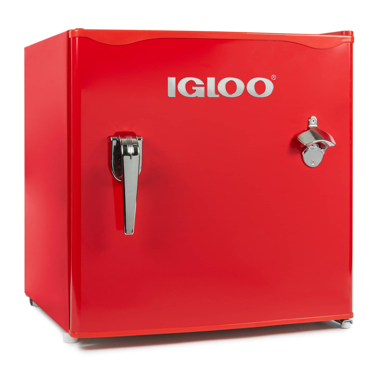 IGLOO® 1.6 Cu. Ft. Classic Compact Single Door Refrigerator Freezer w/ Chrome Handle & Bottle Opener - Red