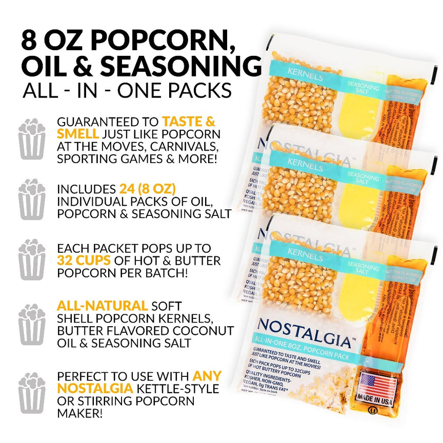Best Tasting Premium 8-Ounce Popcorn, Oil & Seasoning Salt All-In-One Packs - 24 Count