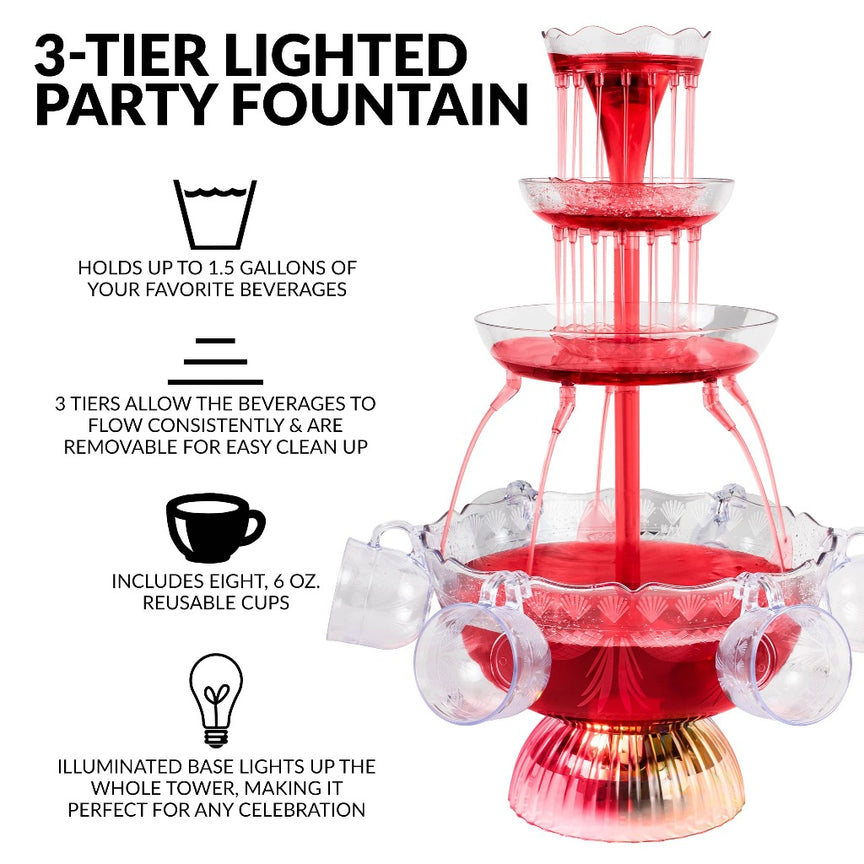 3-Tier Lighted Party Fountain