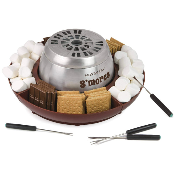 Indoor Electric Stainless Steel S'mores Maker with 4 Lazy Susan Compartment Trays for Graham Crackers, Chocolate, Marshmallows and 4 Roasting Forks