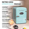 Retro 6-Can Personal Cooling and Heating Refrigerator with Carry Handle, Aqua
