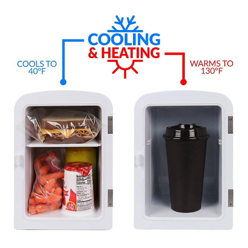 Retro 6-Can Personal Cooling and Heating Refrigerator with Dry Erase Door and Carry Handle, Black