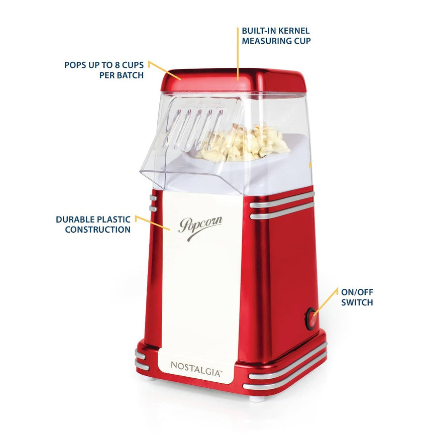 Retro 8-Cup Hot Air Popcorn Maker