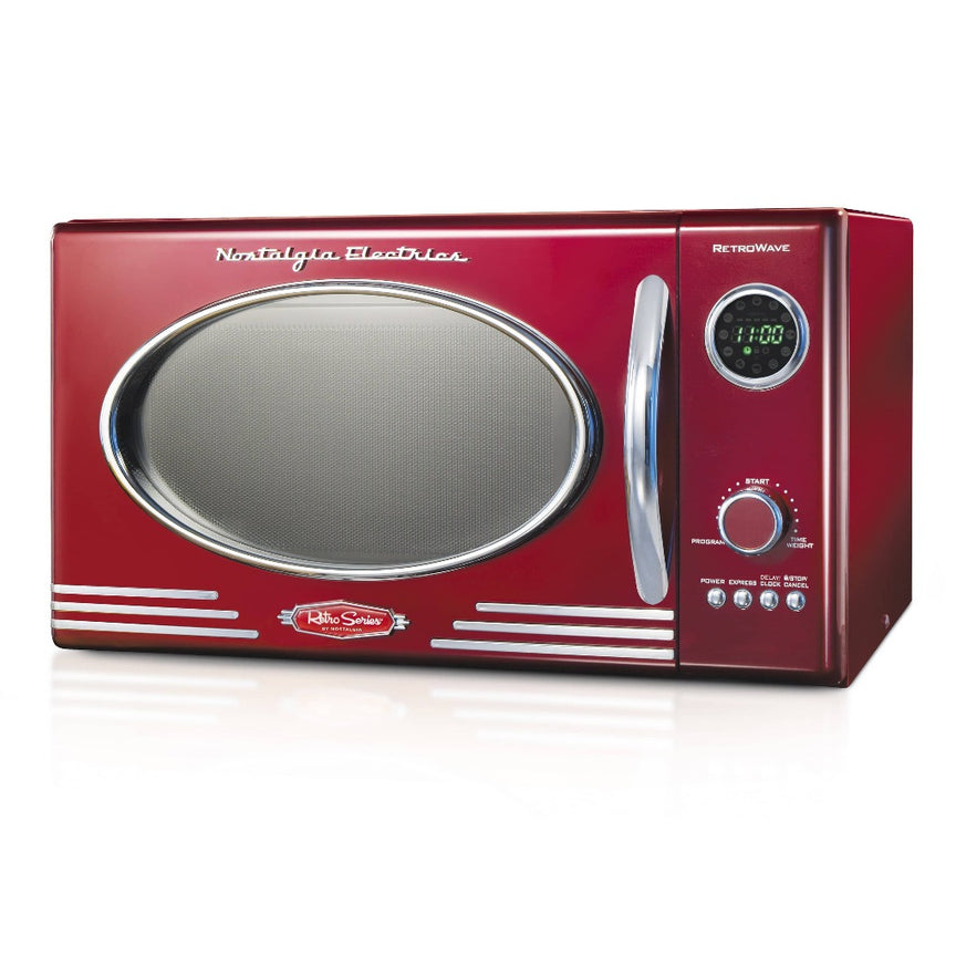 Retro 0.9 Cubic Foot 800-Watt Countertop Microwave Oven - Retro Red