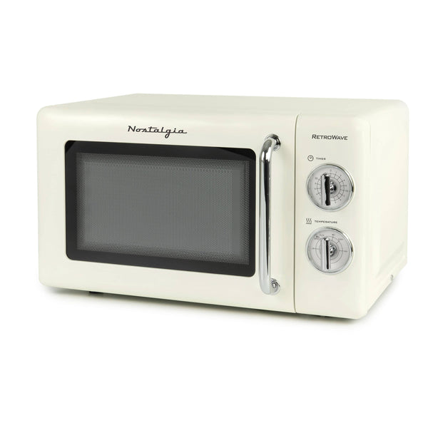 Nostalgia 0.7 Cu. Ft. 700-Watt Microwave With Retro Dials, Ivory