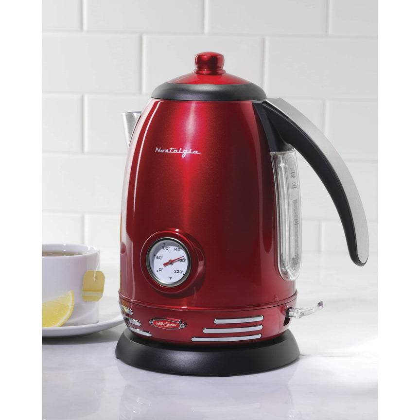 Retro 1.7-Liter Stainless Steel Electric Water Kettle with Strix Thermostat