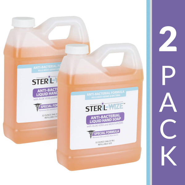 Steril-Wize 32-Oz. Antibacterial Liquid Hand Soap With Aloe, Alcohol Free, 2 Pack