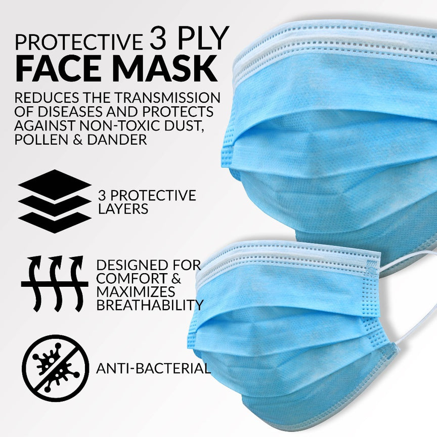 3-Ply Protective Face Mask With Elastic Ear Loop (Pack of 50)