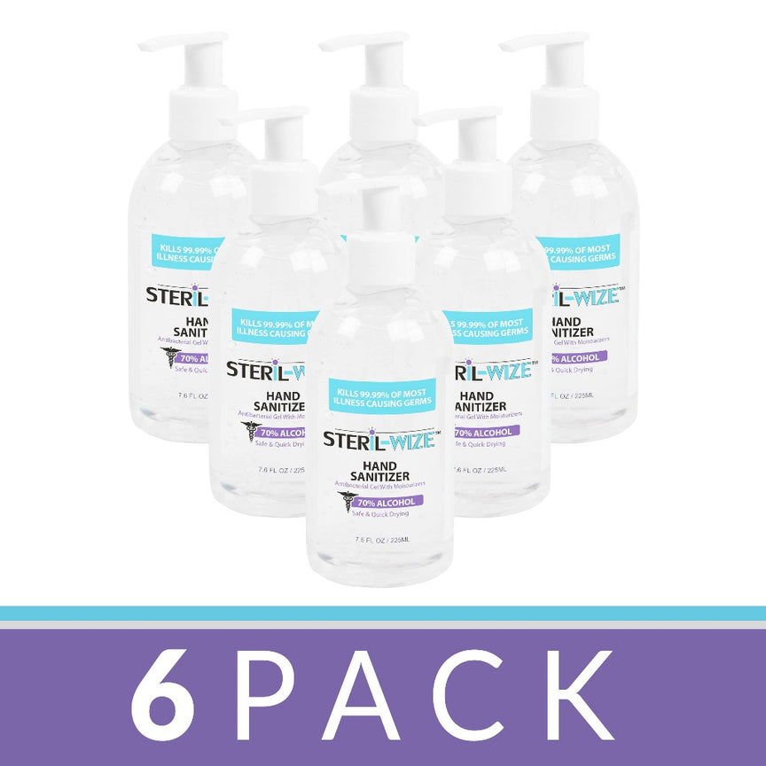Steril-Wize 7.6-Oz. Moisturizing Gel Hand Sanitizer With Hand Pump, 6 Pack