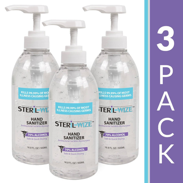 Steril-Wize 16.9-Oz. Moisturizing Gel Hand Sanitizer, 70% Alcohol with Hand Pump, 3 Pack