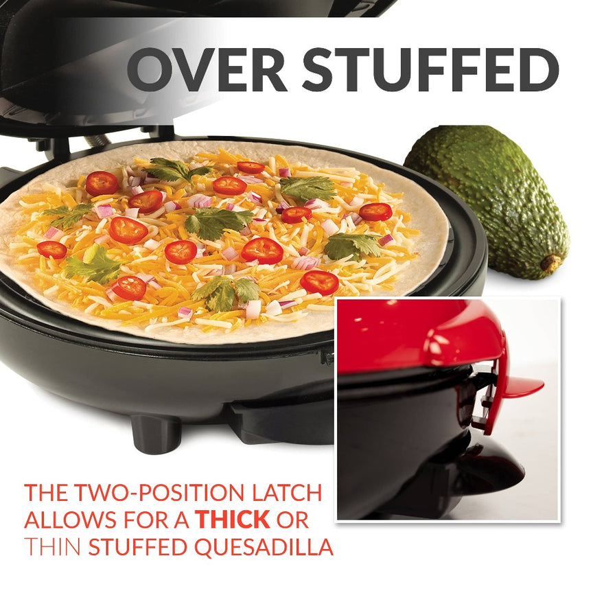 Taco Tuesday Deluxe 8-Inch 6-Wedge Electric Quesadilla Maker with Extra Stuffing Latch
