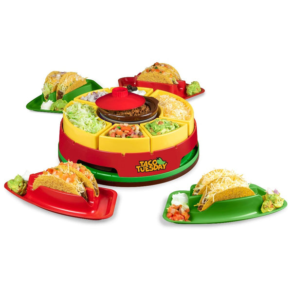 Taco Tuesday Heated Lazy Susan Taco Bar, Perfect for Tacos, Burritos, Nachos, Fajitas, 20-Oz. Warming Pot, Includes 4 Taco Holders
