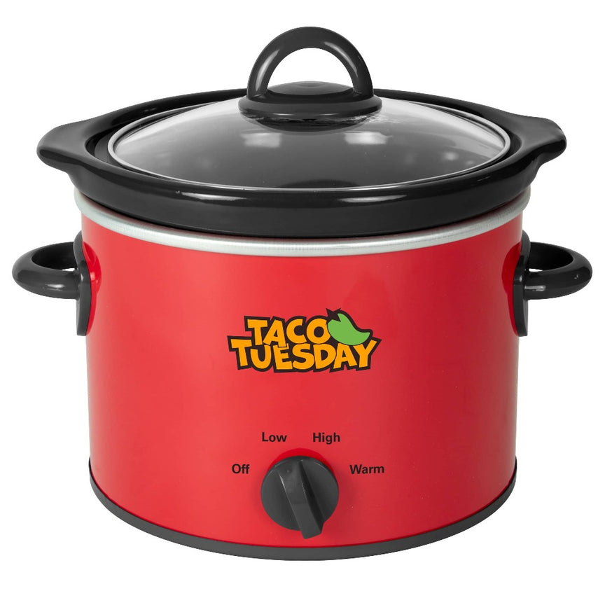 Taco Tuesday 2-Quart Fiesta Slow Cooker With Tempered Glass Lid, Cool-Touch Handles, Removable Round Ceramic Pot