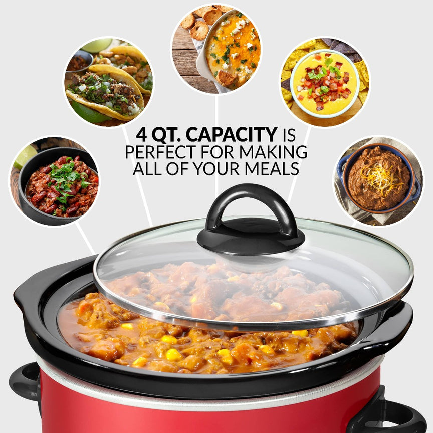 Taco Tuesday 4-Quart Fiesta Slow Cooker With Tempered Glass Lid
