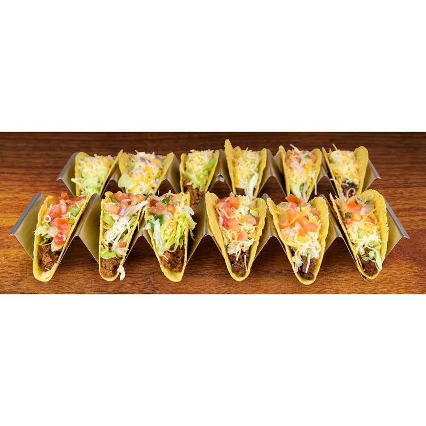 Taco Tuesday Stainless Steel 4-Piece Taco Holder Tray Set