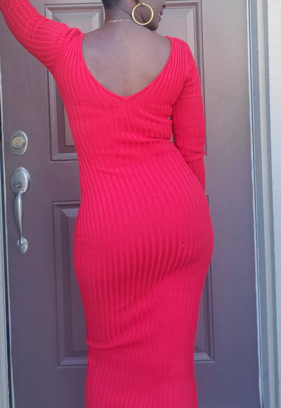 Grace | Long Red Ribbed Dress - Shop-twelve29