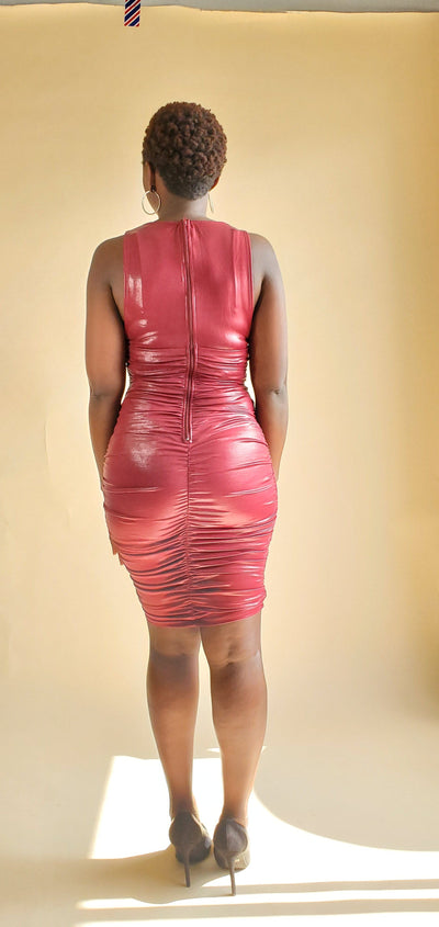 Red with Envy | Red Metallic Mini Dress - Shop-twelve29