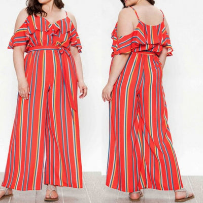 Caroline | Woven Striped Jumpsuit - Shop-twelve29