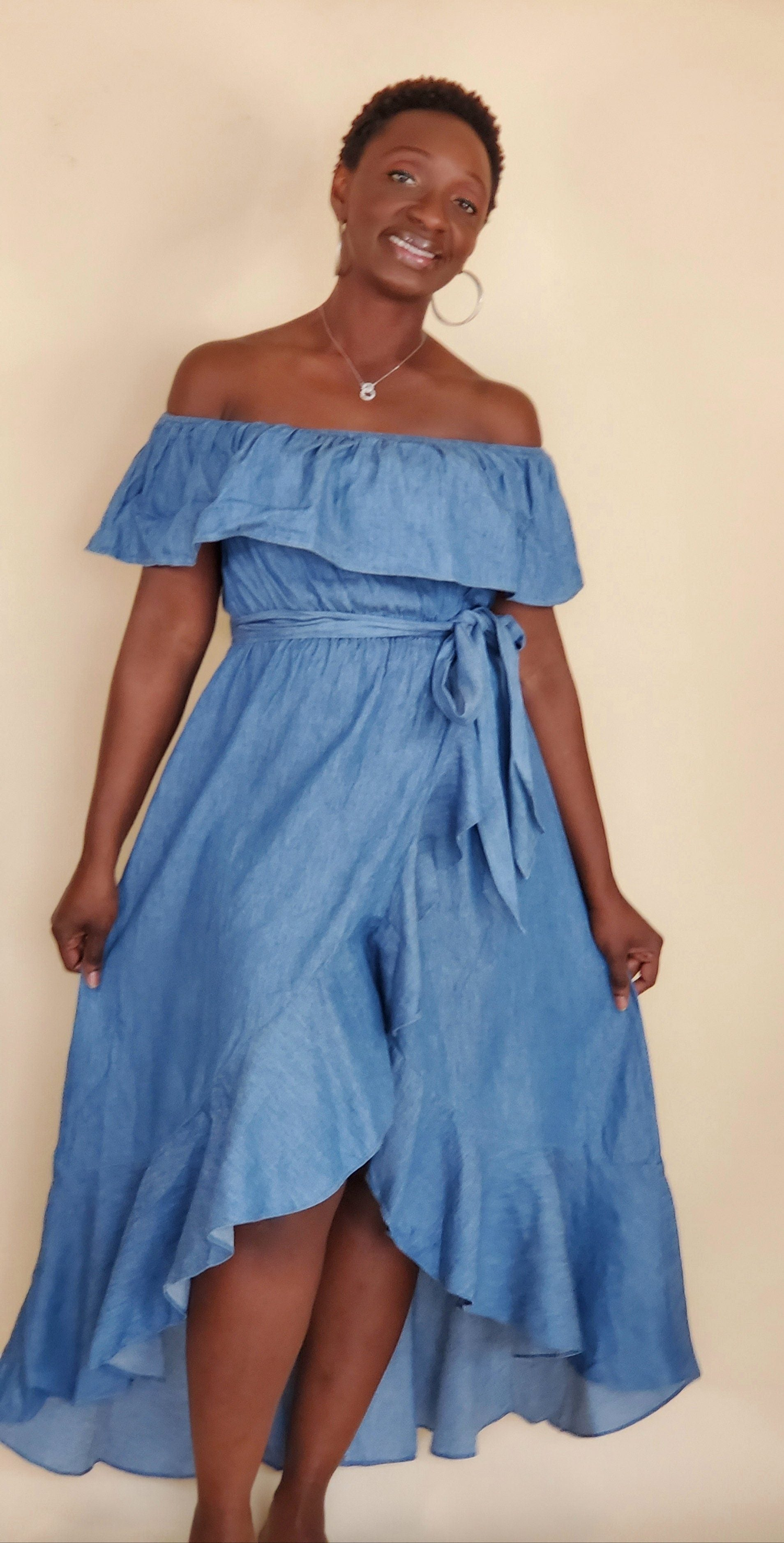 Barbados | Chambray Off The Shoulder Dress - Shop-twelve29