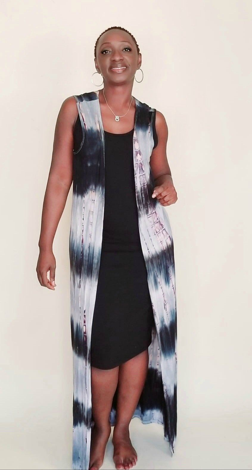 Carmen|Sleeveless Tie Die Duster (Black)