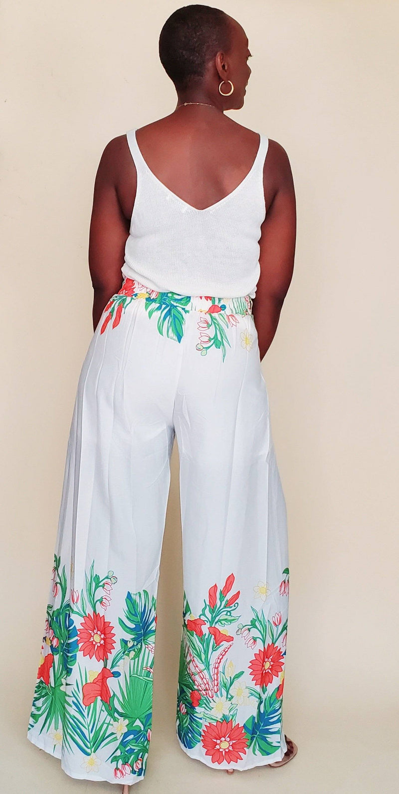 Havana | High waist floral print pants set (off white)