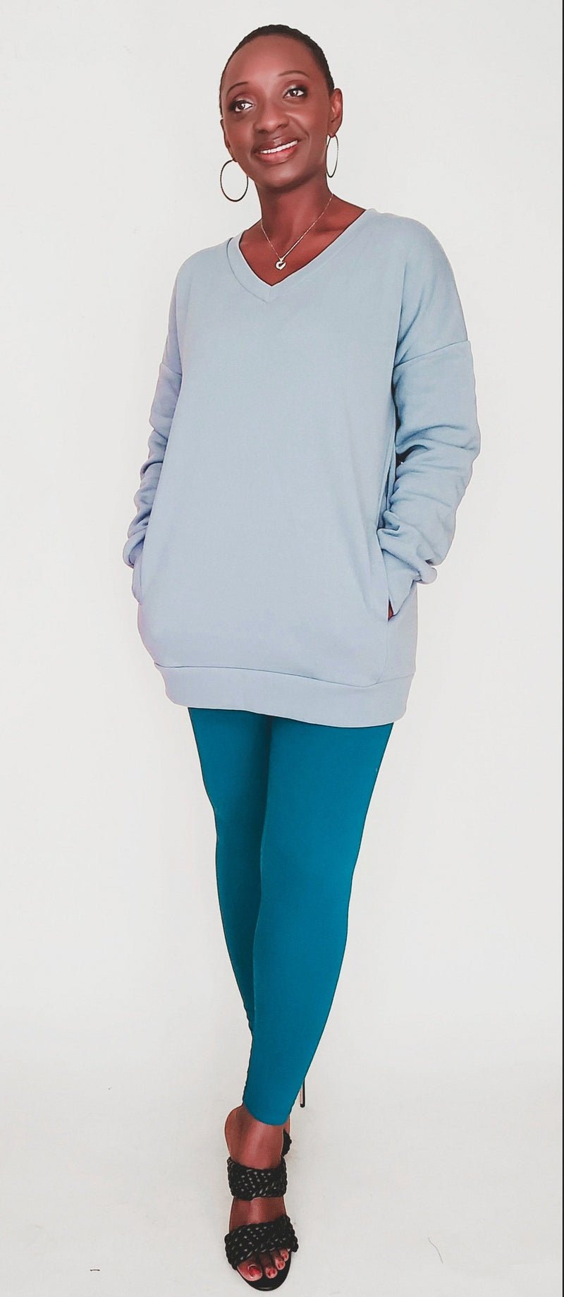 Freeda | Oversized Sweatshirt and Legging Set (Teal)
