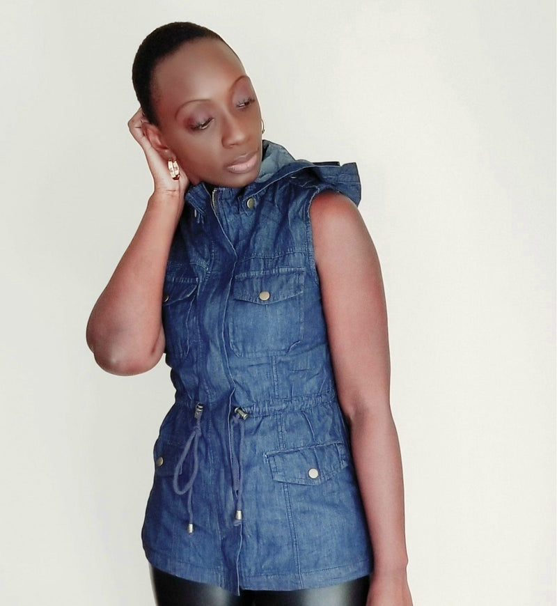 Tasha | Sleeveless Hooded Denim Vest