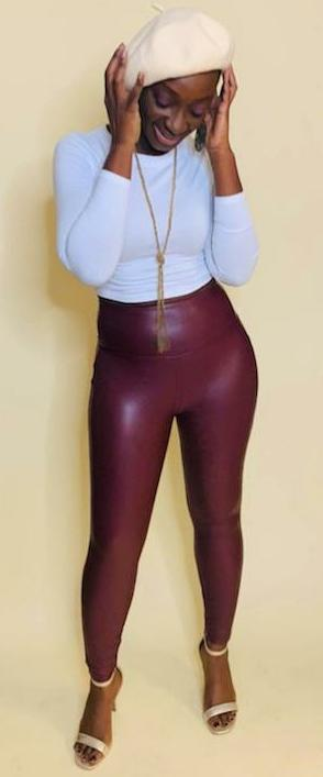 Melrose | Faux Leather Leggings (Burgundy)