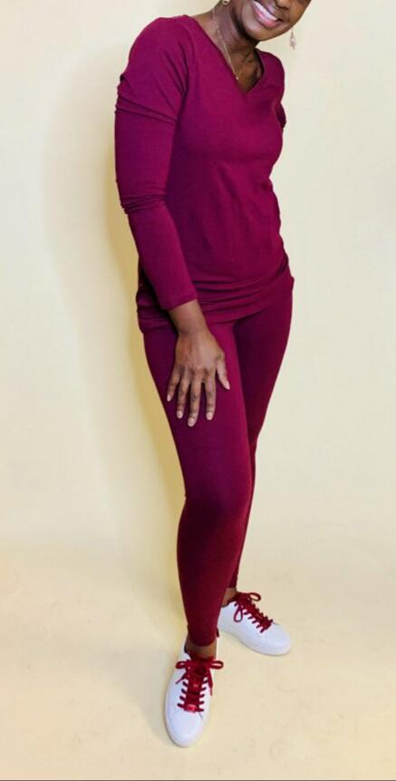Essential V-Neck Legging Set (burgundy)