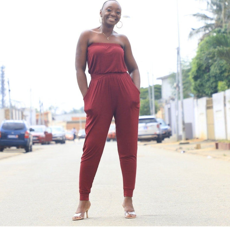 Emma | Strapless Tube Top Jumpsuit (Wine)