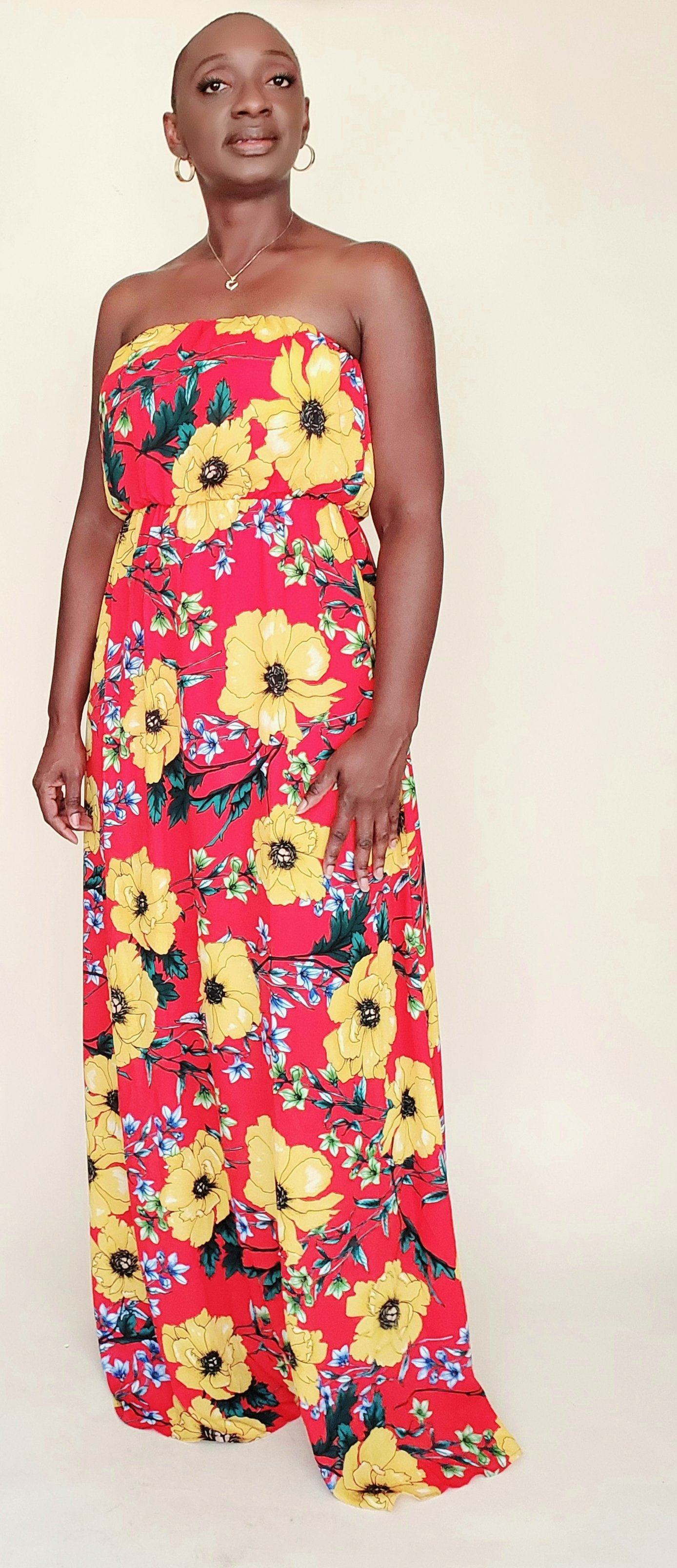 Gabby | Strapless Floral Chiffon Dress